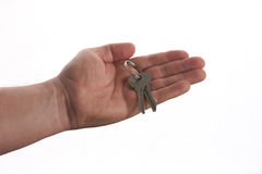 Keys in male hand isolated on white. Keys of a new house in male hand isolated on white Stock Image