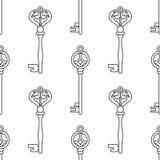 keys manusckript 彩图的,页黑白无缝的样式 向量 库存图片