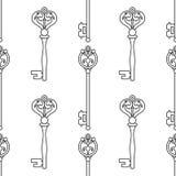 keys manusckript 彩图的,页黑白无缝的样式 向量 免版税库存照片