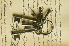 keys manusckript Fotografering för Bildbyråer