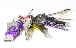 Keys of many sizes and a usb memory Royalty Free Stock Photography