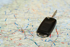 Keys And Map. Keys laying on top of a state map royalty free stock photos