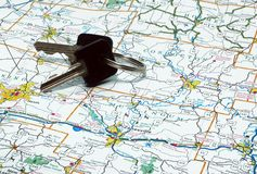 Keys And Map. Keys laying on top of a state map royalty free stock images
