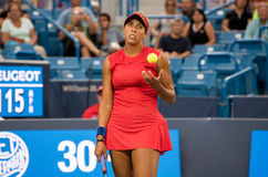 Keys 222. Mason, Ohio – August 14, 2017:  Madison Keys in a first round match at the Western and Southern Open tennis tournament in Mason, Ohio, on August 14 Royalty Free Stock Photography