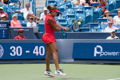 Keys 252. Mason, Ohio – August 17, 2017:  Madison Keys in a round of 16 match at the Western and Southern Open tennis tournament in Mason, Ohio, on August 17 Royalty Free Stock Images