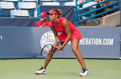 Keys 242. Mason, Ohio – August 16, 2017:  Madison Keys in a second round match at the Western and Southern Open tennis tournament in Mason, Ohio, on August 16 Royalty Free Stock Photo