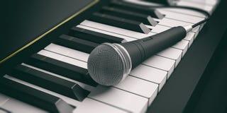 keys mikrofonpianot illustration 3d Royaltyfri Illustrationer