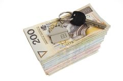 Keys on money Royalty Free Stock Image