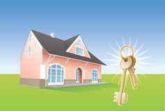 Keys, new home, realty. Vector Stock Images