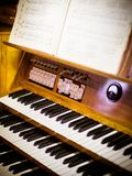 The keys of the organ. In the church stock images