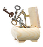 Keys out of the box. Keys out of wooden box on white background Stock Image