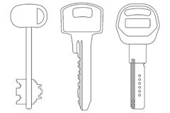 Keys. Outline icons vector illustration