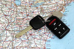 Keys over map Royalty Free Stock Photos