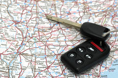 Keys over map Stock Image