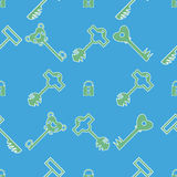 Keys pattern. Vector pattern of different keys and lock stock illustration