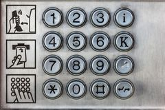 Keys of a payphone stock photo