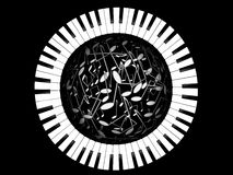 Keys of the piano and sphere from notes. On a black backgpound Stock Photos