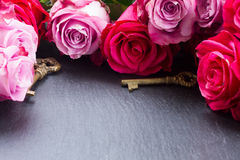 Keys with pink roses Stock Photography