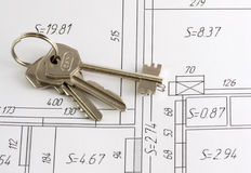 Keys on a plan of apartment Stock Photo