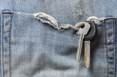 The keys in the pocket of old jeans. Close up Stock Images