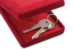 Keys in red gift box isolated Stock Images