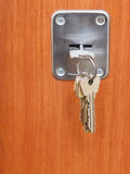 Keys on ring in keyhole of door Stock Photography