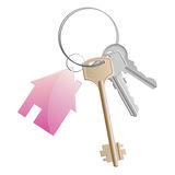 Keys ring pink. A key ring with a pink cottage Royalty Free Stock Images