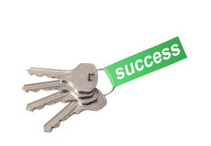 Keys on ring with word SUCCESS Royalty Free Stock Image
