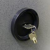 Keys in the safe deposit. Two keys in the lock safe deposit close-up Stock Images