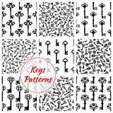 Keys seamless vector patterns set. Key patterns set of keys from locks. Vector seamless background of antique, vintage and heraldic keys with ornate retro bows Stock Photos