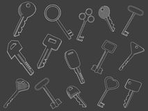 Keys set chalk vector illustration Royalty Free Stock Photos