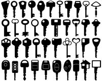 Keys. Set of different keys isolated stock illustration