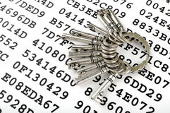 Keys on a sheet with encrypted data Royalty Free Stock Image