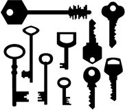 Keys silhouettes. Vector illustration black and white Royalty Free Stock Image