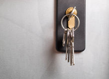 Keys stuck in a lock. Royalty Free Stock Images