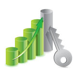 Keys with success graph Royalty Free Stock Photography