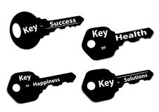Keys success happiness solutions health. Silhouette keys with words success happiness solutions and health Royalty Free Stock Images