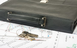 Keys and suitcase Stock Images