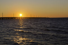 Keys Sunset. A Bahia Honda Bridge during sunset. Big Pine Key, Florida Royalty Free Stock Images