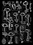 Keys. The symbolic image of a large number of keys vector illustration