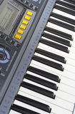 Keys of a synthesizer. In white bright light stock images