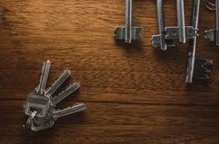 The keys on the table. Are the keys on the table for the door of the apartment house office, metal Stock Photography