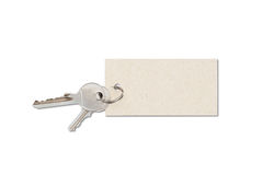 Keys with tag. On white Stock Images