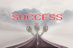 Keys and text think plan do and success on highway road on big c Stock Images