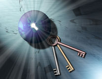 Keys to Binary Globe 3. A globe of the earth has a key hole, out of the keyhole shine streams of light, binary code swirls into the keyhole. Three keys sit Vector Illustration