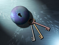 Keys to Binary Globe 4. A globe of the earth with a key hole, binary code swirls into the keyhole. Three keys sit nearby Royalty Free Illustration