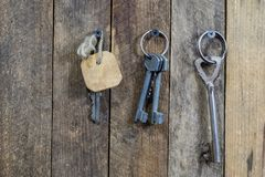 Keys to the front door of the house. Various accessories needed stock photos