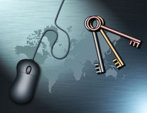 Keys to the Globe. A computer moouse and a set of keys rest on a map of the earth Stock Illustration
