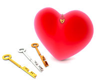Keys to Heart. Three keys to unlock a red heart, isolated on a white background Royalty Free Stock Photos