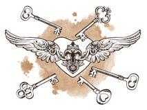 The keys to the heart.  Vector illustration. Stock Photos